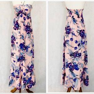 Yumi Kim Strapless Pink Floral Silk Maxi Dress